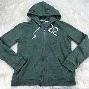 Brandy Melville Green Zip Front Hoodie